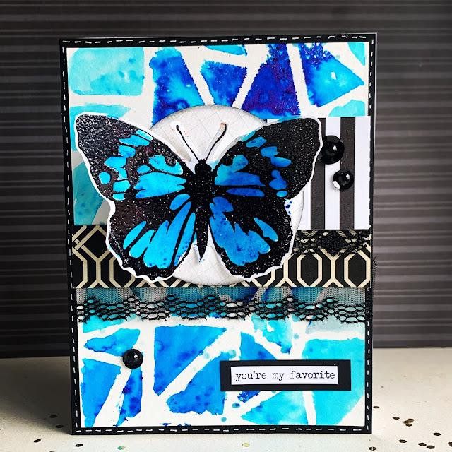 Stamped Handmade Card with Blue Butterfly colored with Brutus Monroe Color Burst Powders