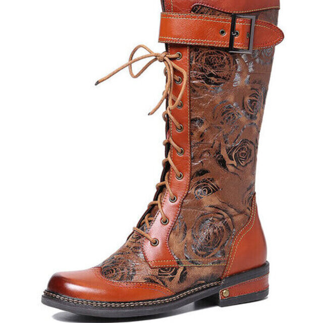 Embossed Rose Pattern Mid Calf Boots