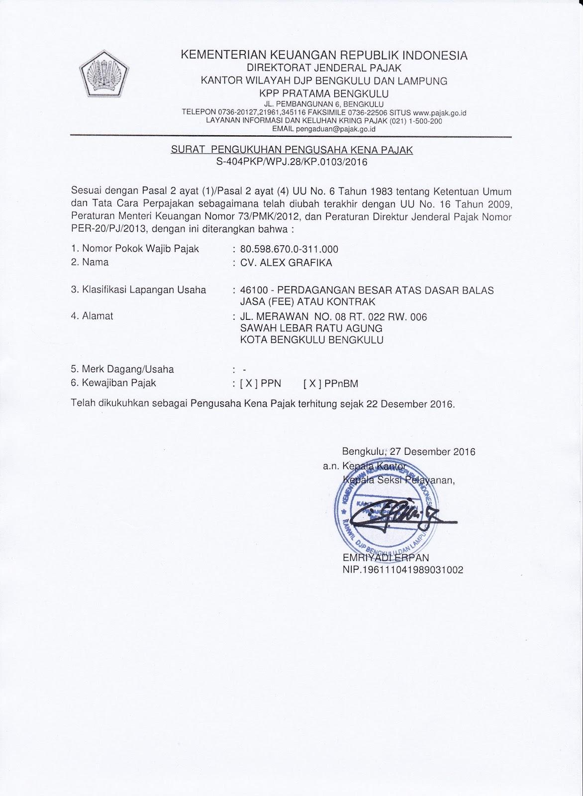 Surat Pengukuhan Pengusaha Kena Pajak (PKP)
