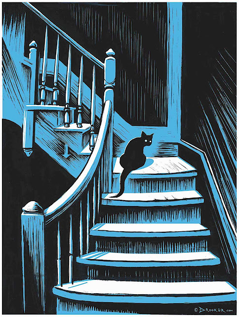 an Eric Drooker illustration of a black cat on a blue staircase