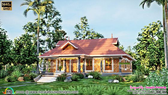 Traditional Kerala house with laterite stone