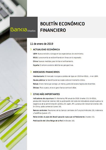 BOLETIN ECONOMICO FINANCIERO BANKIA ESTUDIOS 11 ENERO 2019