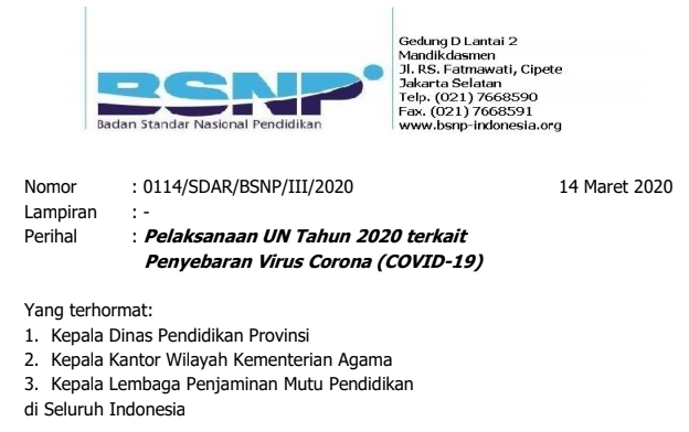 Surat Edaran KEMENDIKBUD Tentang Pelaksanaan UN Terkait Virus Corona