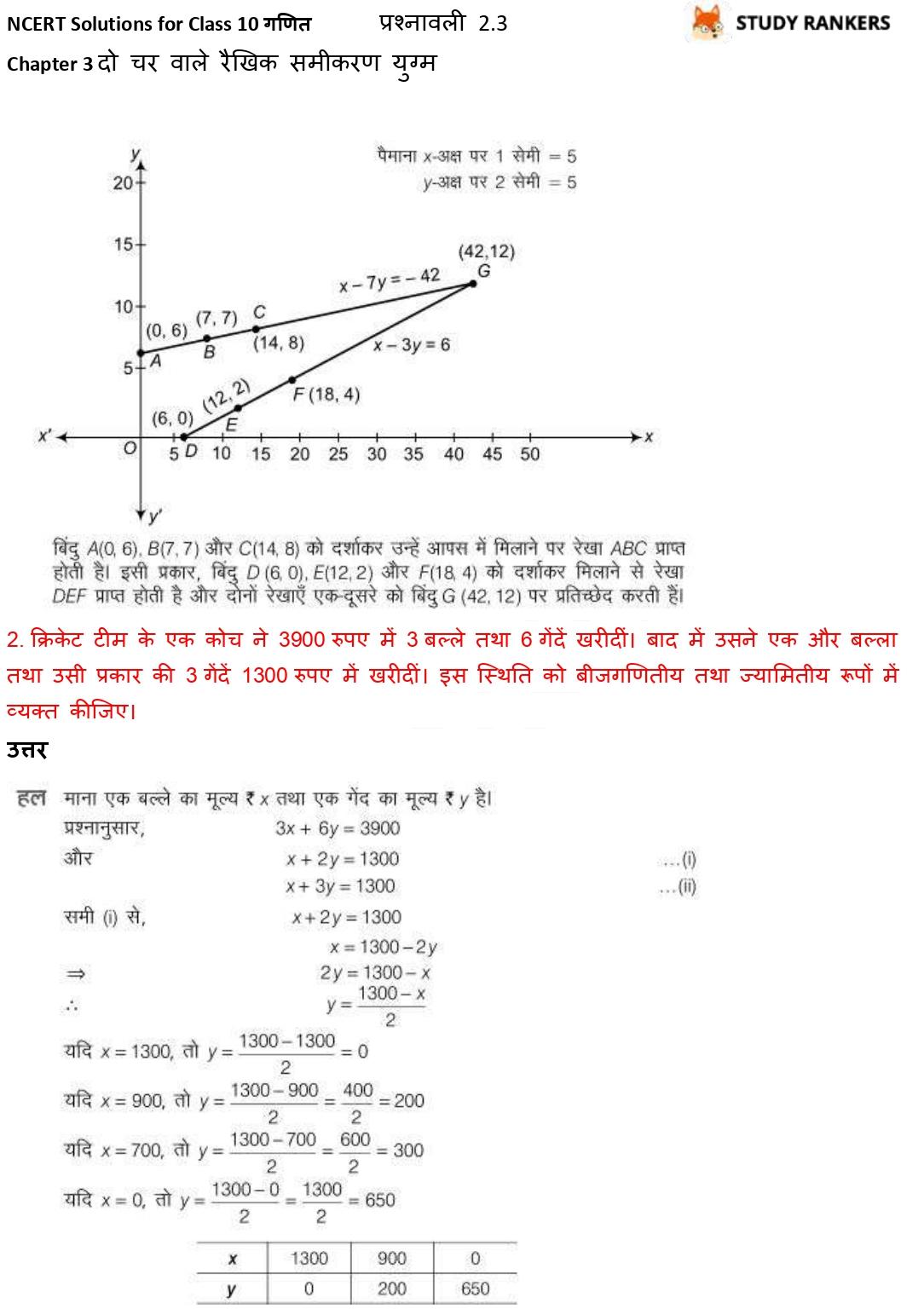 NCERT Solutions for Class 10 Maths Chapter 3 दो चर वाले रैखिक समीकरण युग्म प्रश्नावली 3.1 Part 2