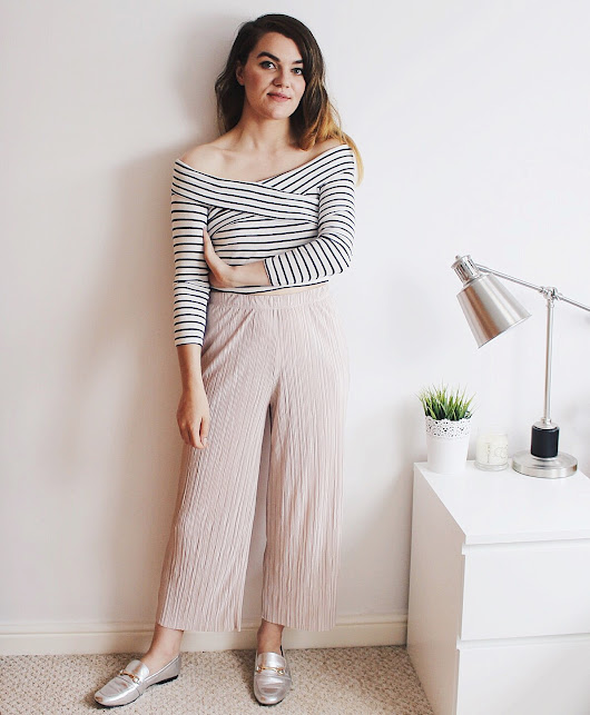 Topshop Pleated Trousers & ASOS Silver Loafers (Gucci Style)