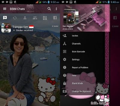 BBM Mod Change Background v3.2.0.6 with Hello Kitty (Dark Style)