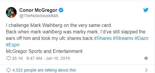 McGregor Menantang Mark Wahlberg Di UFC Dan Rumah Judi Antusias 2019