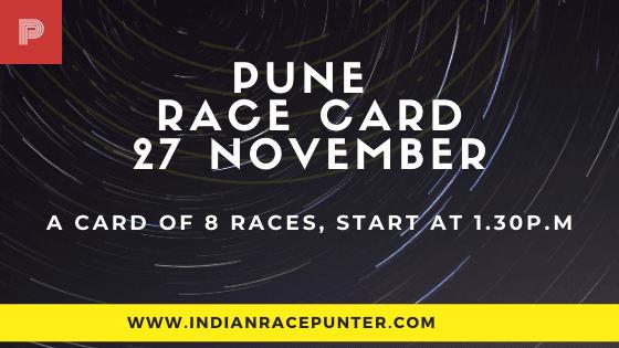Pune Race Card 27 November, India Race Card