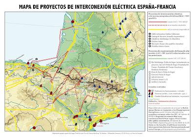 Mapa de conexiones eléctricas España-Francia