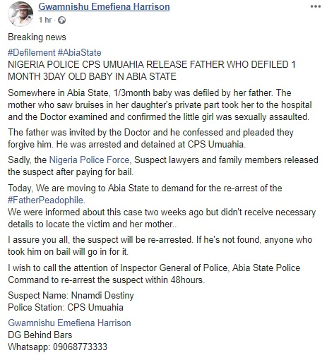Police Accused Of Releasing Man Who Reportedly Defiled His 1-Month-Old Daughter In Abia State