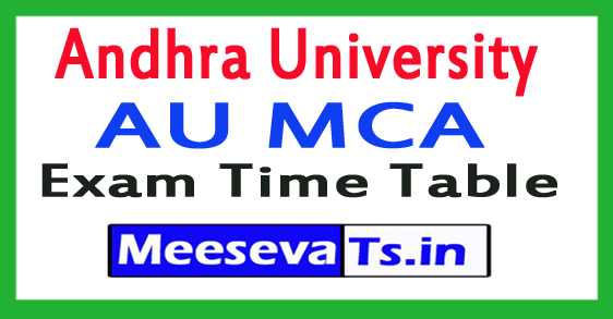 Andhra University AU MCA Exam Time Table 2017