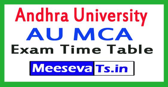 Andhra University AU MCA Exam Time Table 2017