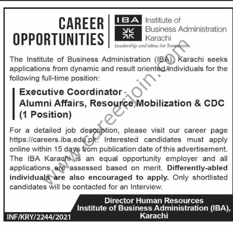 Institute of Business Administration IBA Jobs 2021 For Executive Coordinator - IBA Jobs 2021 in Pakistan