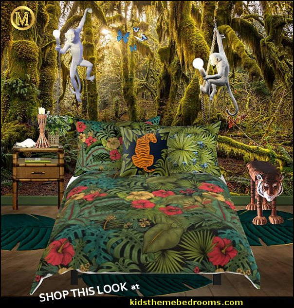 jungle rainforest  bedroom ideas  jungle theme bedrooms - safari jungle themed wild animals - jungle animals wild safari bedroom ideas - tropical jungle theme - jeep beds  - wild animal murals - tropical lagoon murals - Lion king Disney Jungle vines wall decals - jungle animals wall decals