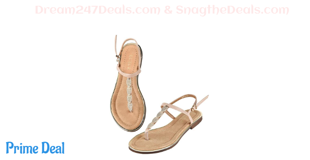 40% OFF LUXUR Women's T-Strap Buckle Flat Thong Sandals