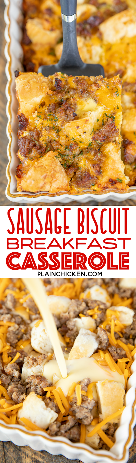 collage of 2 photos of sausage breakfast casserole