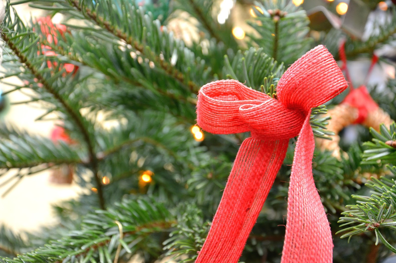Red Bow in Christmas Tree