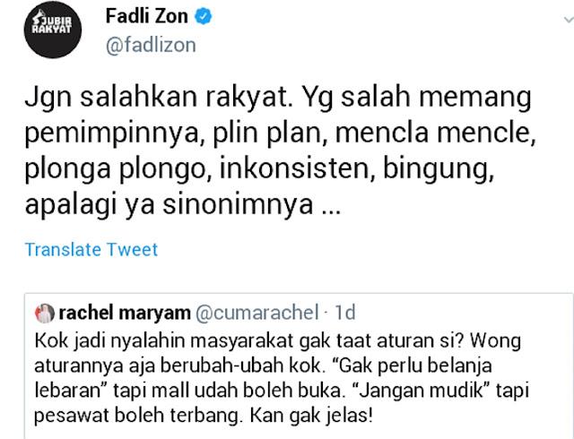 Banyak Pelanggaran PSBB, Fadli Zon: Salah Pemimpinnya Plinplan