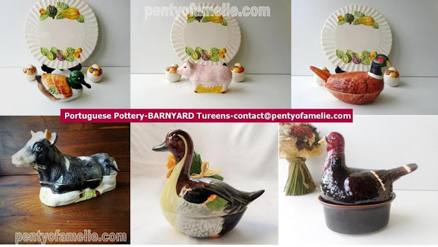 pretty Backyard majolica faience tureens. Cow, Pintail Duck, Dabbling Shoveler Duck,Pheasant, female pig Sow, Turkey figural. Portuguese pottery.