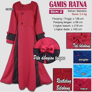 Gamis balotelly polos model simple - ratna seri 2