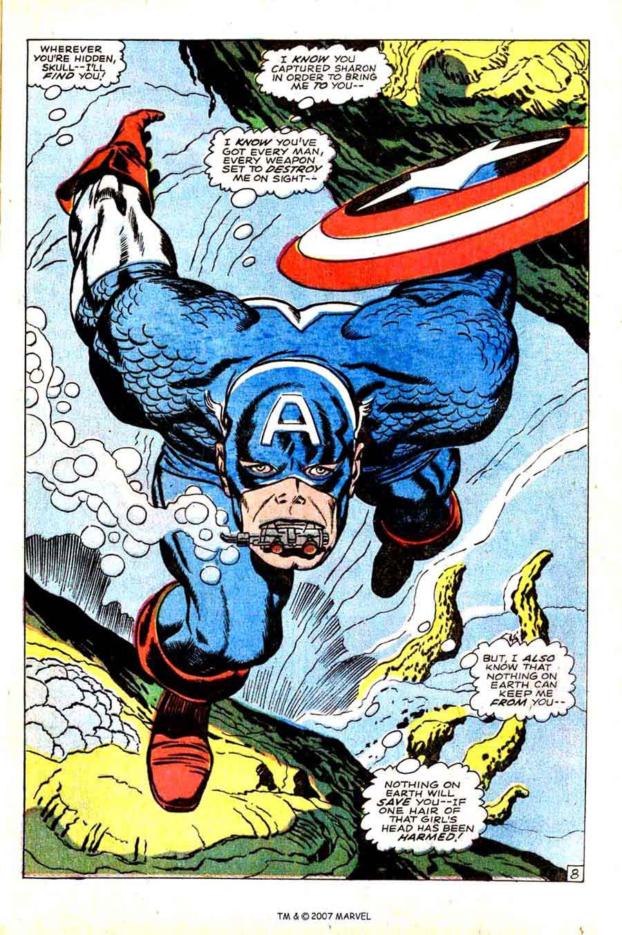 Captain America v1 #103 marvel comic book splash page art by Jack Kirby