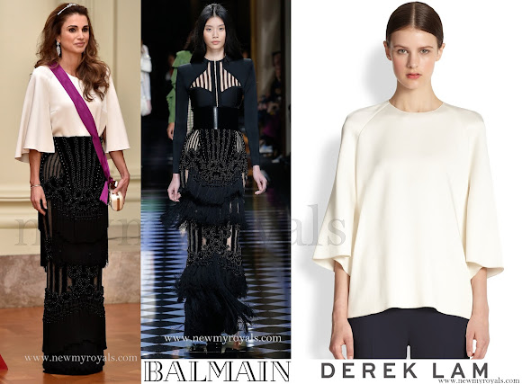 Queen Rania wears Balmain Dress - (Fall 2016 Ready-to-Wear Fashion) and DEREK LAM Cape Blouse