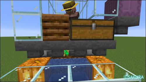 Minecraft 自動小麦畑兼取引所のラージチェストとコンポスター