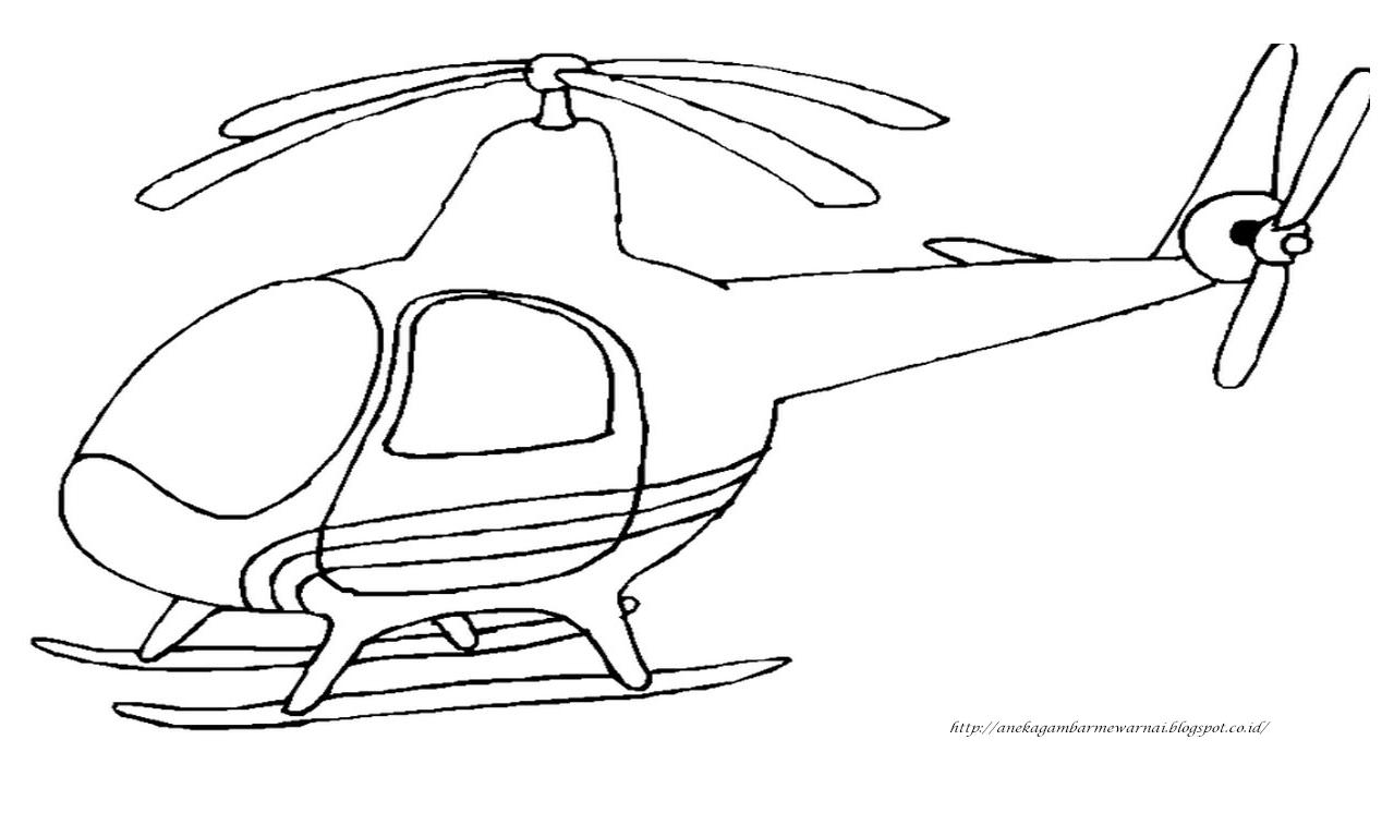 Gambar Mewarnai Helikopter Untuk Anak PAUD dan TK 3