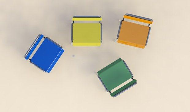 Vista superior de la composición de las 4 sillas