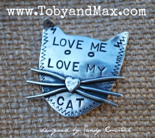 Toby & Max Jewelry - Love me love my cat pin