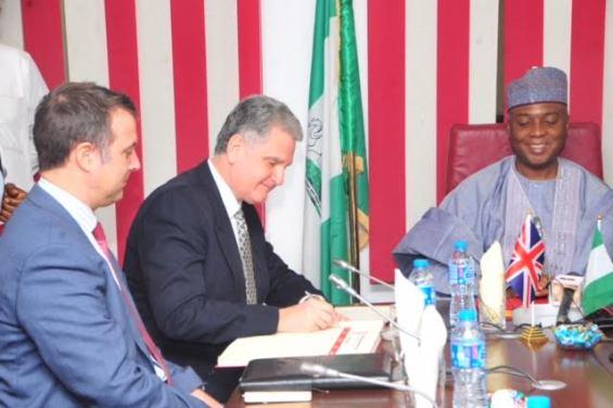 Senate President, Senator Bukola Saraki and British High Commissioner, Dr. Andrew Pocook