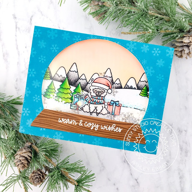Sunny Studio Stamps: Stitched Semi-Circle Alpaca Holiday Scenic Route Christmas Card by Ashley Ebben