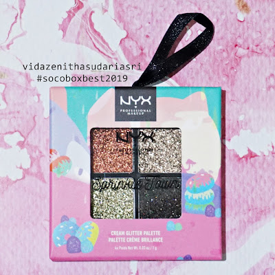 review NYX Sprinkle Town Cream Glitter Palette shade chocolate shake netral