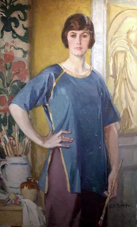 Kathleen McEnery Cunningham, Self Portrait, Portraits of Painters, Kathleen McEnery, Fine arts, Portraits of painters blog, Paintings of Kathleen McEnery, Painter Kathleen McEnery