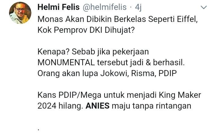 Revitalisasi Monas Digoreng Terus, Netizen: Kalau Berhasil PDIP dan Jokowi Dilupakan