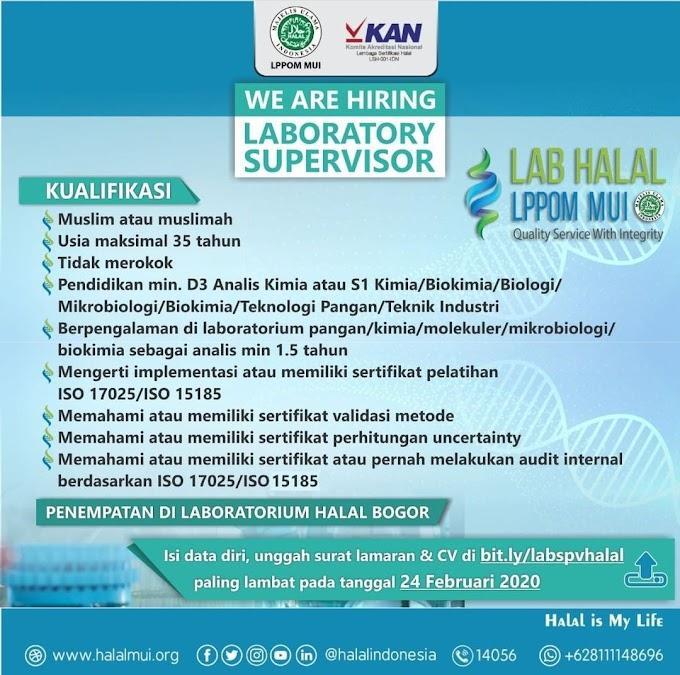 Lowongan Pekerjaan Laboratory Supervisor Lab Halal LPPM MUI