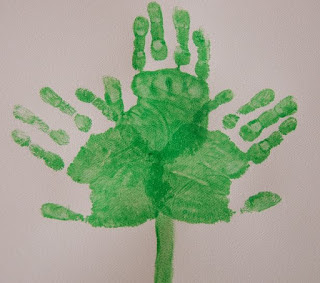 St Patrick's Hand Print with Green Colour on White Paper