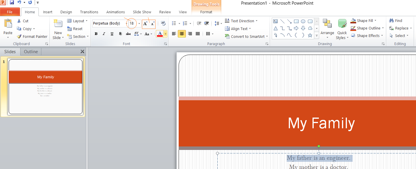 Font Size on MS Powerpoint 2007