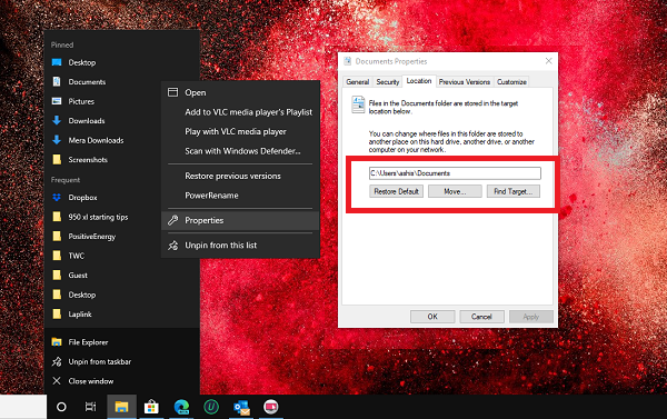 Letak My Documents pada Windows 10