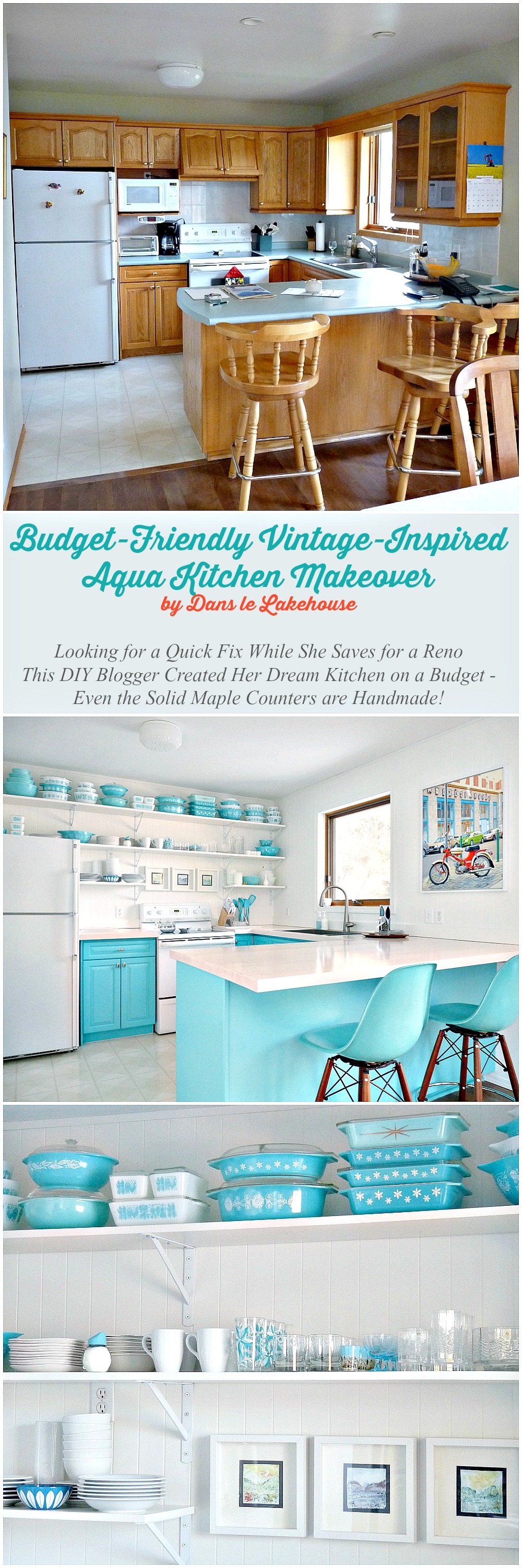 A Budget-Friendly Turquoise Kitchen Makeover | Dans le Lakehouse on turquoise kitchen color ideas, turquoise retro furniture, red retro kitchen ideas, turquoise home decor ideas,
