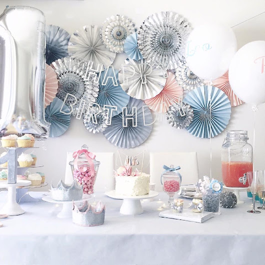 Beautiful 1st birthday by Tokyo Flamingo with Pantone Colours of the Year - Rose Quartz and Serenity