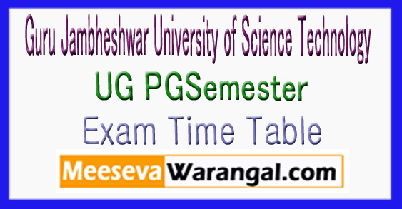 GJUST Guru Jambheshwar University of Science Technology UG PG Time Table 2017-18