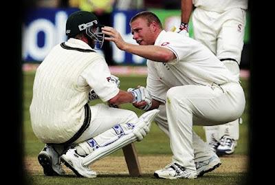 Flintoff Consoling Brett Lee 2005 ahses Top 10 Spirit of Cricket moments of the century