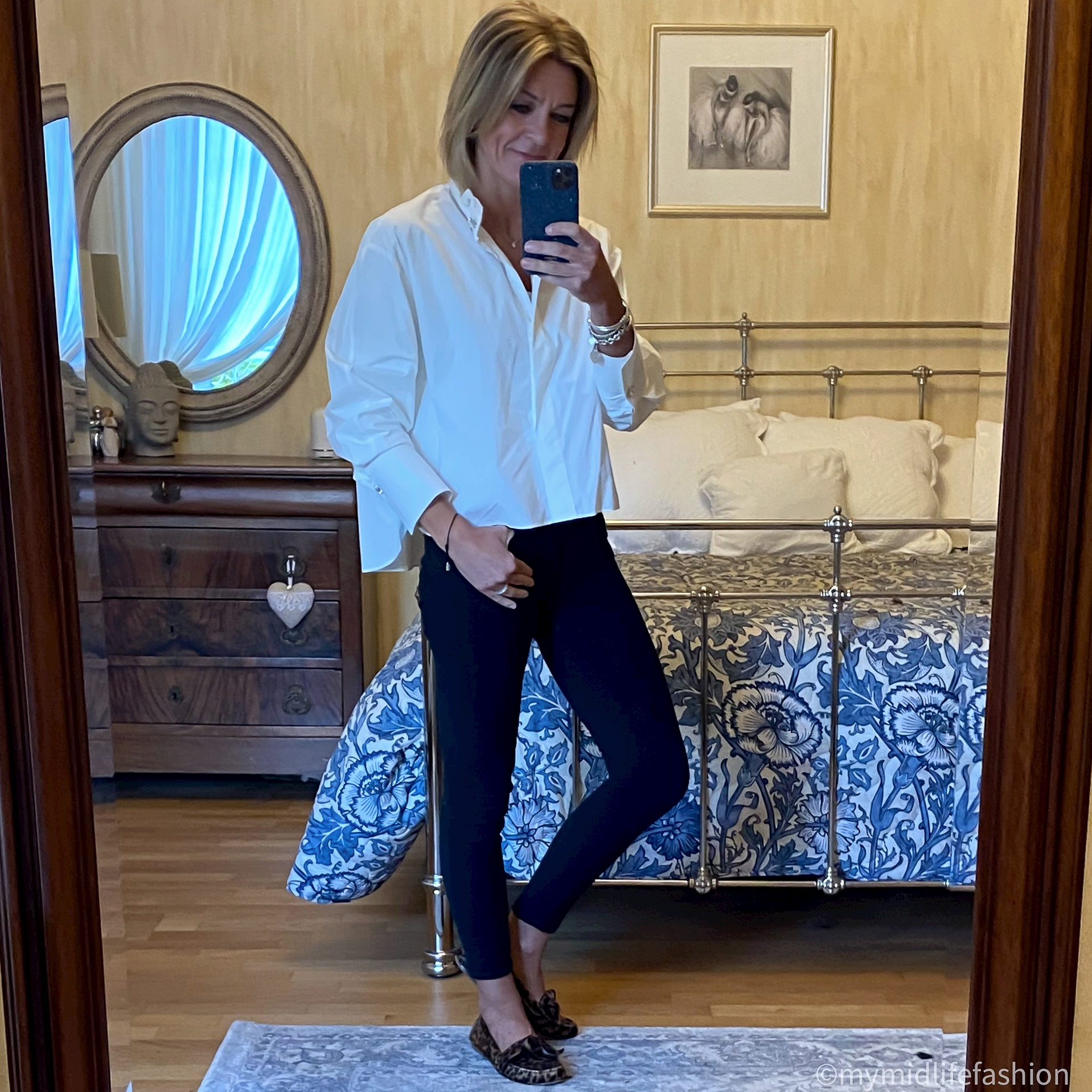 my midlife fashion, zara frill detail blouse, j crew 8 inch toothpick skinny jeans, Isabel Marant Etoile leopard print loafers