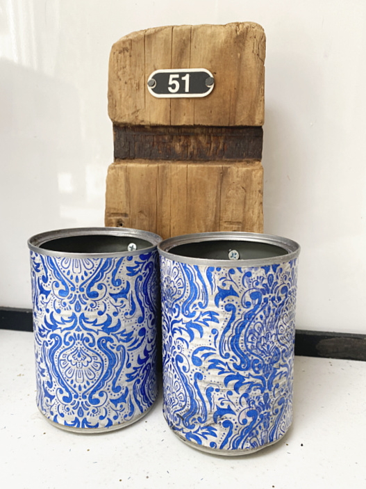 wooden barrel handle and decoupaged cans