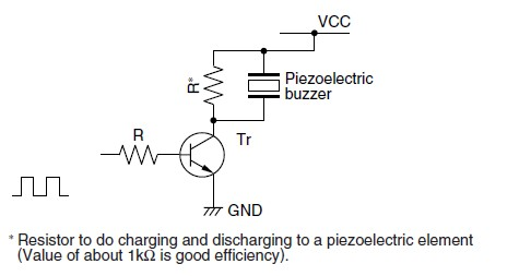 Driving a piezo buzzer using a transistor