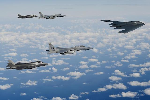 B-2 formation F-15 F-35