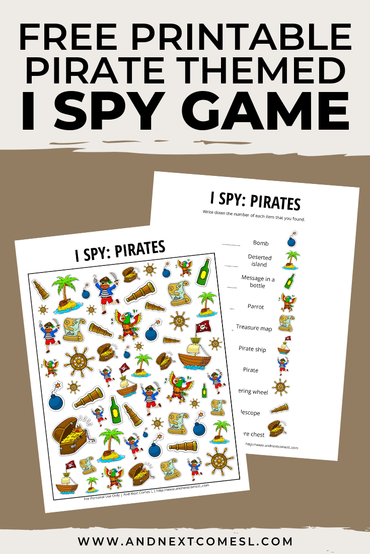 Free I spy game printable for kids: pirate themed