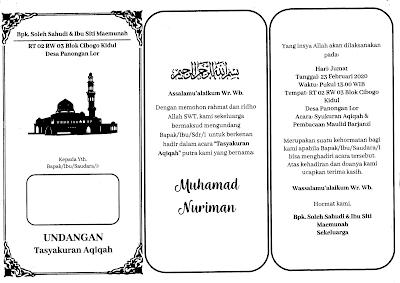 contoh undangan aqiqah word