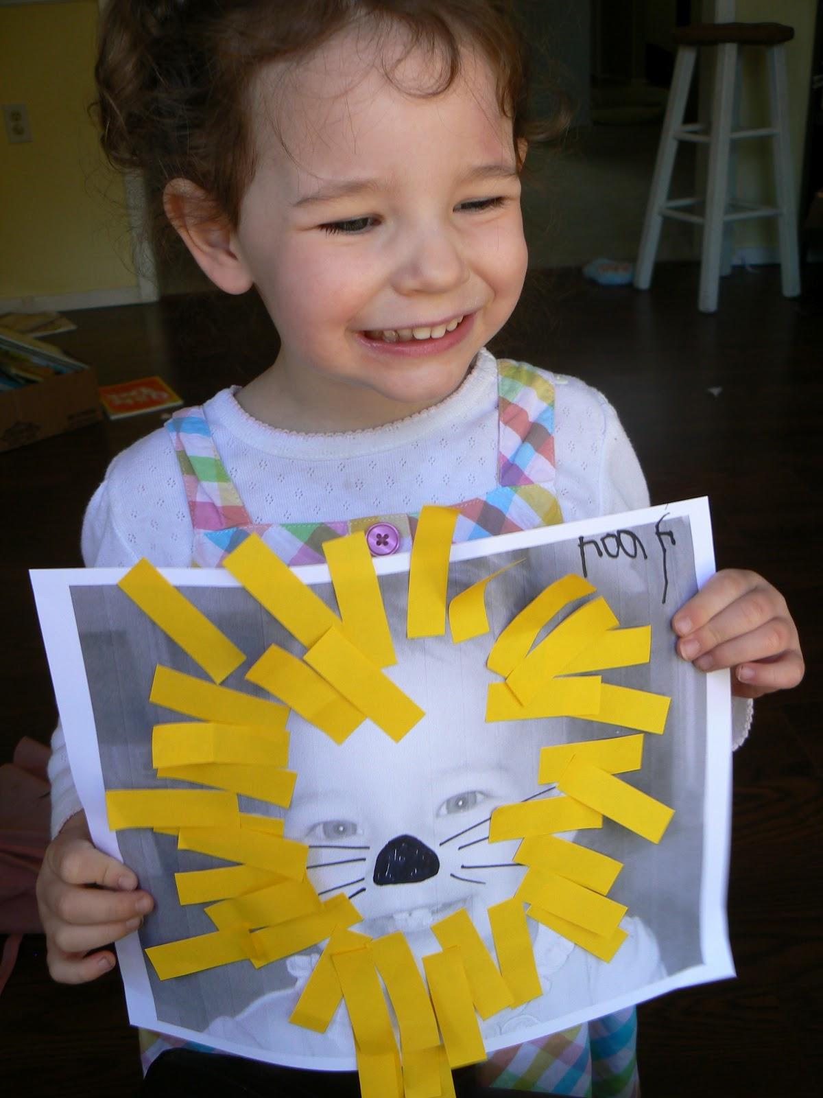 Having Fun At Home Toddler Craft Post It Flag Lions
